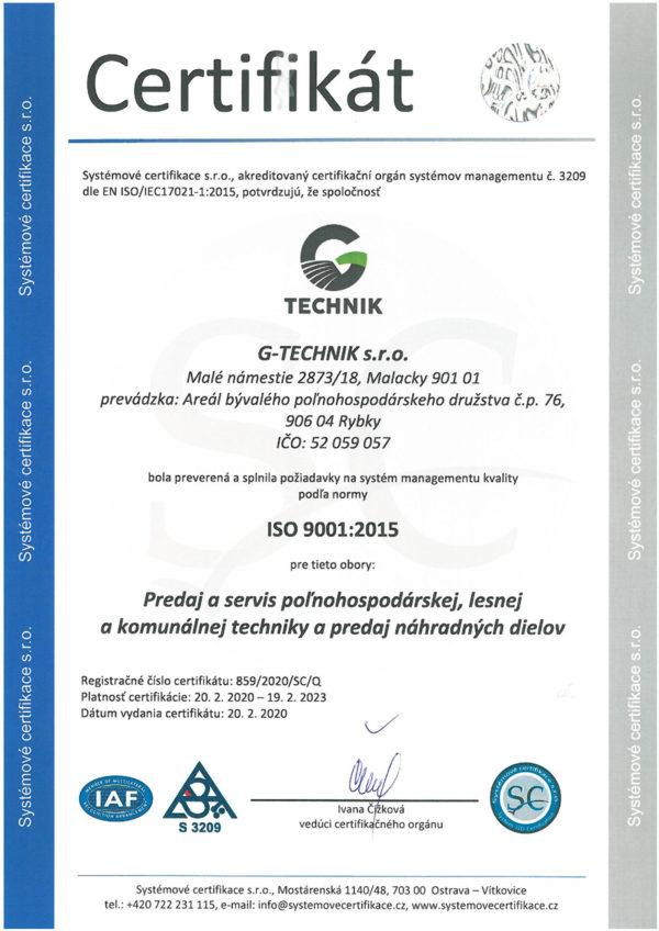g-technik certifikat